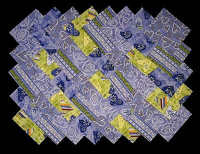 "HEARTS BLUE & GREEN 4"" Quilt Fabric Squares (#E/105)"