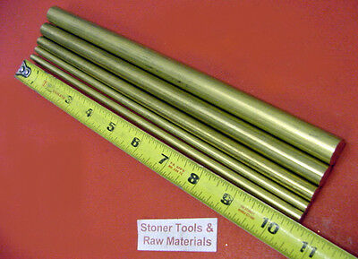 "5 Pieces 1/4"", 5/16"",3/8"", 1/2"" & 5/8"" 360 BRASS ROUND ROD 10.5"" long Solid"