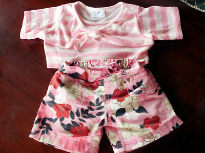 Build-A-Bear Clothing / Outfit~Pink Floral Shorts with Pink Striped Shirt~Cute