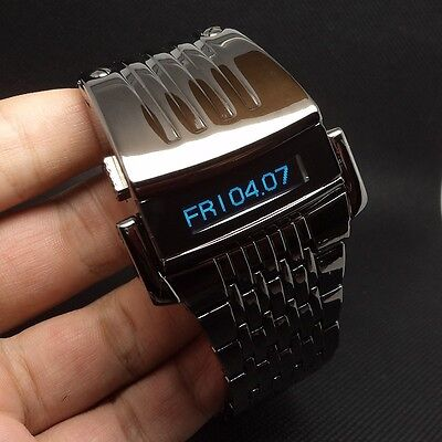 Iron Man Watch Blue Digits Stainless Steel LED LCD Digital Wristwatch of black