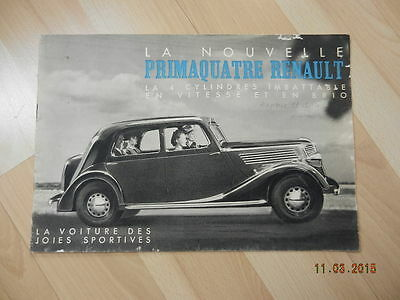 catalogue RENAULT PRIMAQUATRE 1939 prima 4