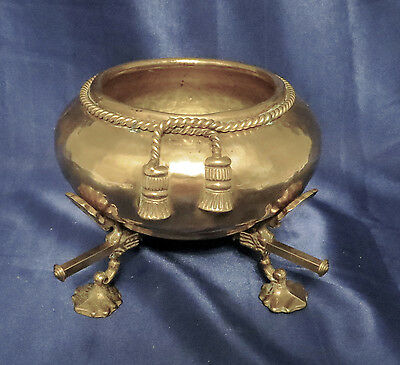 Stunning Vintage Chinese Brass Bowl on Adjustable Solid Brass Base