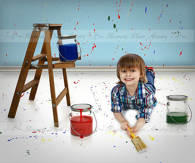 Paint Cans Digital Photography Background Backdrop for Children Photoshop #01
