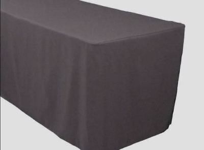 5' ft. Fitted Polyester Table Cover Trade show Banquet Tablecloth CHARCOAL GREY