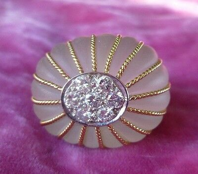 Chunky Mid Century 18 K Gold Retro Rock Crystal And Diamond Cocktail Ring