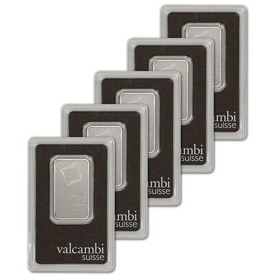 1 oz. Platinum Bar - Valcambi Suisse - 999.5 Fine in Assay - Five 5 Bars