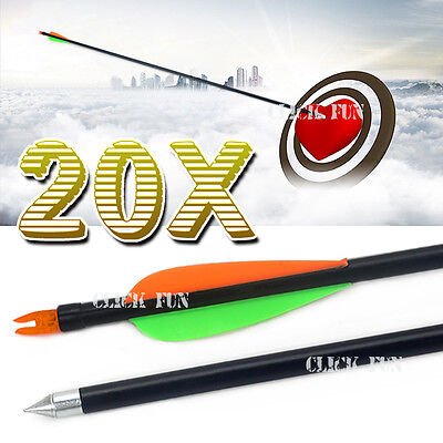 "20x 32"" Fiberglass Arrows 15-80lb Steel Tip Hunting Target Recurve Compound Bow"