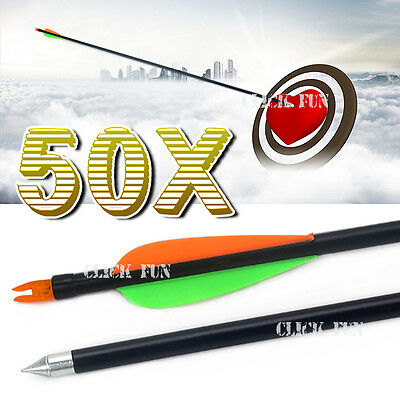 "50x 32"" Fiberglass Arrows 15-80LB Steel Tip Hunting Target Recurve Compound Bow"