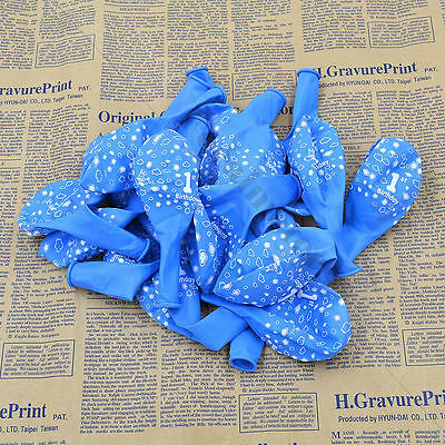 Baby 1st First Birthday Party Decor Girl Boy Printed  Number 1 Ballons 20PS Blue