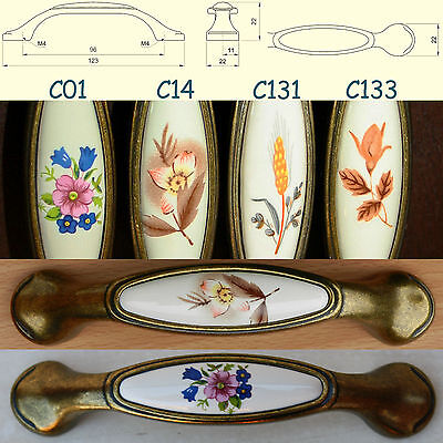 Cupboard Cabinet Door/Drawer Porcelain/China Pull Handles patina on brass UP014
