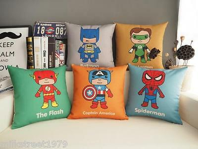 "18""Cute Super Hero Cushion Pillow Cover 5 pcs, Batman,Flash,et (No stuffing)"