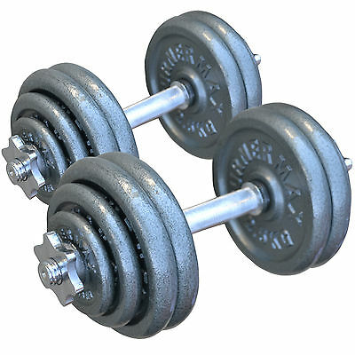 TurnerMAX Cast Iron Dumbbell Gym Workout Training Fitness set Bar Weights Biceps