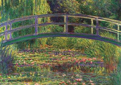 Monet - Water Lilies and the bridge - HUGE A1 59.4x84cm Canvas Print Unframed