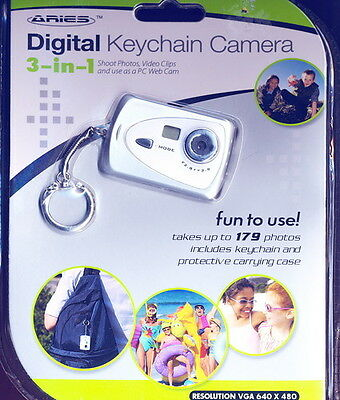 NEW ARIES DIGITAL KEYCHAIN CAMERA 3-IN-1 SHOOTS PHOTOS, VIDEO, USE AS  PC WEBCAM