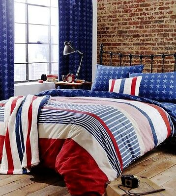 Catherine Lansfield Red/White/Blue Stars/Stripes Duvet Set Optional Accessories