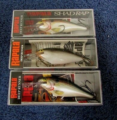 Shad Rap SR-7 Rapala Deep Runner S/SD Lot of 3 Assorted Colors T-9