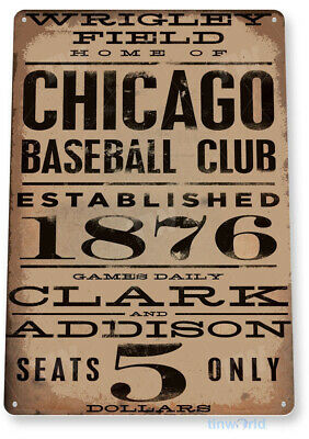 "TIN SIGN ""Chicago Wrigley Field"" Card Metal Decor Art Baseball Shop Store A040"