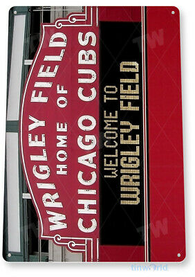 "TIN SIGN ""Wrigley Field"" Chicago Cubs Metal Decor Art Baseball Shop Store A192"