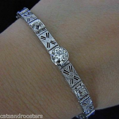 Art Deco 1.4 carat Old European Cut Diamonds Sapphires 14k Gold Vintage Antique