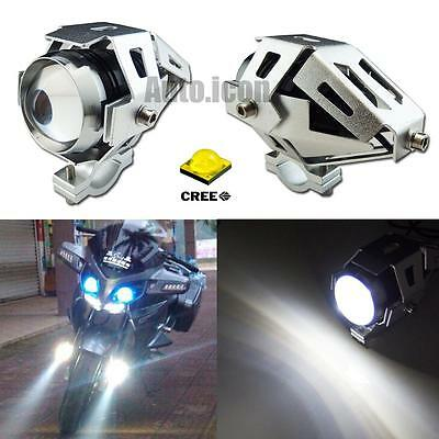 2pcs Silver Case White Transformers Style CREE LED Spot Lights For Motorcycle