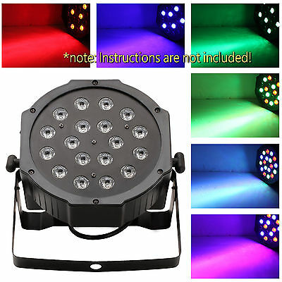 18W 6 Channel RGB LED Flat Par Light for Club DJ Stage Party Xmas w/ DMX Control