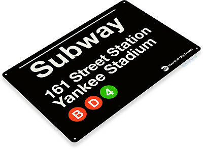 "TIN SIGN ""Subway 161 Yankee Stadium"" Metal New York Street Garage Store A630"