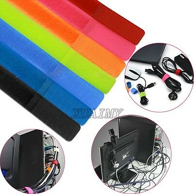 Colors! 50-100Pcs Straps Wire Velcro Cable Organizer Tie Rope Holder Cord TV PC