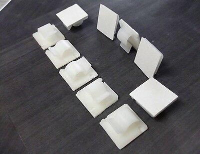 10 x Medium Self Adhesive Nylon Cable Clips. Wires. Sleeving. Cable. Conduit.