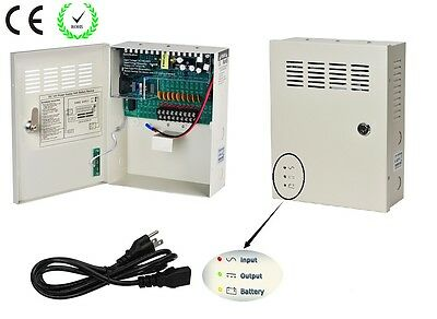 9Channel DC12V 10A UPS Box Power Supply Support Battery CE ROHS For CCTV Camera