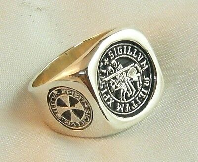 KNIGHT TEMPLAR RING WITH CROSS IN 925 SOLID STERLING SILVER