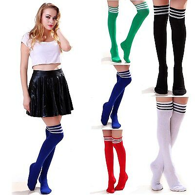 3 Pack Women's Over-Knee Thigh High Athletic Soccer Sports Fashion Tube Socks