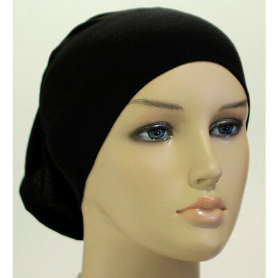 High Quality Black Under Scarf TUBE Bonnet CAP Bonet Stretch Underscarf