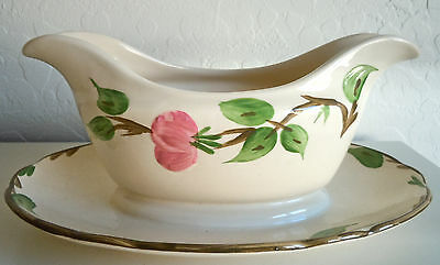 Franciscan Desert Rose Gravy Boat and Attatched Underplate England Backstamp