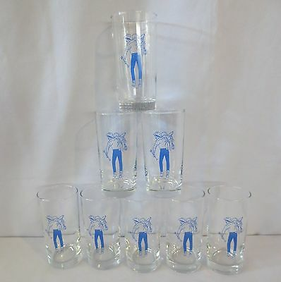 8 Vintage Libbey Western Cowboy themed Drinking Glasses Tumbler