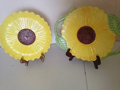2 Plates-Yellow Sunflower Hand Painted Exclusively for Seymour Mann Inc.