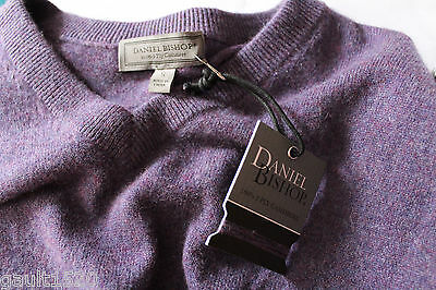 NWT Daniel Bishop 100% Cashmere Men's V-Neck Luxury Purple Sweater S $240