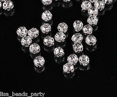Wholesale 100pcs 4mm Round Metal Alloy Hollow Out Loose Beads DIY Finding Silver