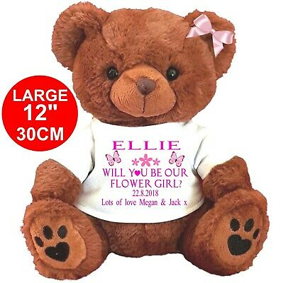 Personalised Brown Teddy Bear  Will You Be Our Flower Girl Bridesmaid Wedding