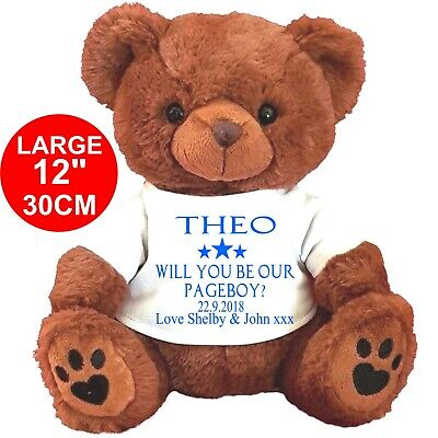"""Personalised Brown Teddy Bear 25Cm/10"""" Sitting  Will You Be Our Pageboy Wedding"""