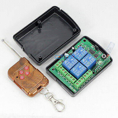 DC12v 10A Relay 4CH Wireless RF Remote Control Switch Transmitter + Receiver AU