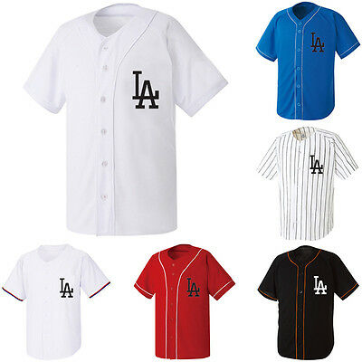 LA Los Angeles Dodgers Baseball Jersey Open T-shirt Sports Tops Cheers Fan Club