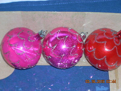 3 VINTAGE POLAND CHRISTMAS ORNAMENTS 2 WITH INDENT 1 ROUND ALL WITH MICA