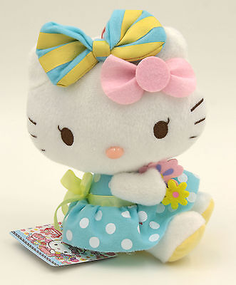 """Hello Kitty With Flower Cute Girlie Plush Toy Doll Key Chain 6"""""""