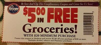 Lot of 20 Kroger $5.00 off $20 groceries purchase $100 value use at Publix too