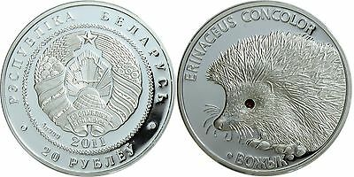Belarus 20 Rubles, 31.1 g Silver Proof Coin, 2011, KM # 381, Mint, Hedgehog