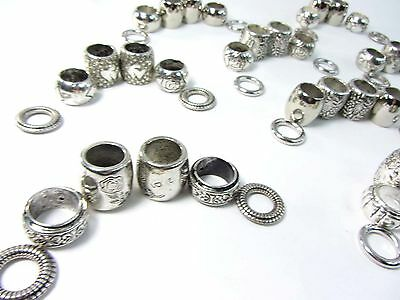 US SELLER-wholesale lot of 20 scarf ring large hole beads for DIY jewelry scarf