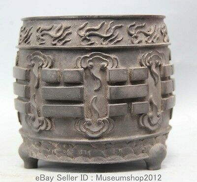 """5"""" Old Marked Chinese Dynasty Palace Pure Bronze 3 Foot Incense Burner Censer"""