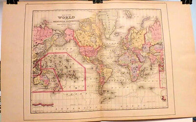 1894 Map The World on the Mercator Projection  -  North America  -   Large Size
