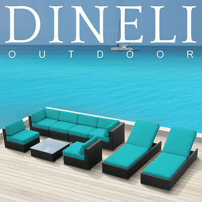 9Pcs DINELI Modern Patio Wicker Set Outdoor All Weather Sectional Sofa Furniture