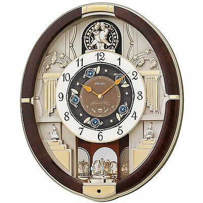 Seiko QXM289B Brown Analogue Musical Melodies in Motion Antique Wall Clock New